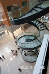 Spiral staircase unit in the Integrated Sciences Building