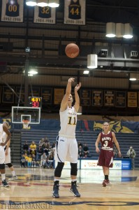 Senior guard Hollie Mershon attempts a free throw in a City Six matchup against Saint Joseph's University at the DAC Nov. 14. The Hawks would go on to win 45-47.
