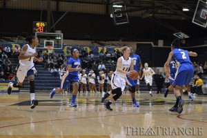 Senior guard Hollie Mershon cuts past a defender in a recent game at the Daskalakis Athletic Center. Mershon and the Dragons have hit a tough stretch in their schedule recently with back-to-back losses to CAA opponents, Delaware and Old Dominion.