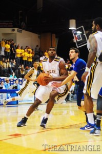 Senior point guard Frantz Massenat gets into the lane in Drexel's 63-54 win over Hofstra Feb. 18. The Dragons have won three of their past four games to finish with a 5-8 home record after opening the season 2-7 at the DAC.