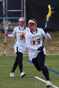 Attack Jessica Rudloff scored two goals in Drexel's 14-10 win over Villanova March 6 at Vidas Field. Rudloff was one of six Dragons to score at least two goals in the game.