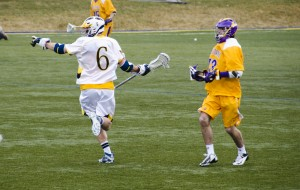 Senior midfielder Garrett McIntosh celebrates a goal with his Drexel teammates in a home game at Vidas Field.