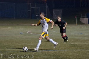 Senior defender Tal Bublil works the ball forward against Northeastern University during Drexel's 2-1 loss to the Huskies Oct. 3, 2012, at Vidas Field. Bublil was named to the Preseason All-CAA Team prior to the 2013 season.