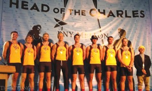 The Drexel men's crew varsity eight, featuring coxswain Marc Smith, stroke Mikulas Sum and bow Dave Hanrahan, won the gold medal at the Head of the Charles Regatta in Boston Oct. 20.