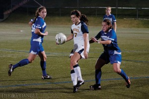 Senior midfielder Jess Sarkisian controls a ball during Drexel's 1-0 victory over the University of Delaware last season at Vidas Field. The Dragons travel to Newark, Del., Oct. 18 to face the Blue Hens in a crucial CAA match.