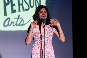 Photo Courtesy Jen Cleary. Nimisha Ladva (pictured) was one eleven finalists in the annual Grand Slam event hosted by First Person Arts. Participants in this year's showdown were asked to base their stories on the theme of dilemma.