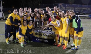 The Drexel men's soccer team won its first-ever Colonial Athletic Association Championship title against The College of William & Mary Nov. 16. Drexel defender Jameson Detweiler scored the only goal of the game.