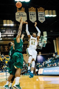 Sophomore guard Tavon Allen puts up a floater over the Cleveland State University defense during Drexel's 75-61 win earlier this season.