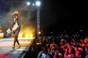 Jay L Clendenin MCT Campus Pharrell Williams woos the audience during an outdoor performance on day two of the second weekend at Coachella Valley Music & Arts Festival in Indio, Calif.