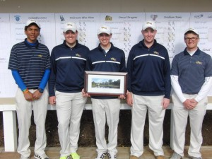 The Drexel golf team, featuring (from left) Freshman Yoseph Dance, senior Ben Hinge, sophomore Christopher Crawford, freshman Brian Fischer, and redshirt sophomore Andrew Feldman, finished seventh out of 16 teams at the Villanova Wildcat Invitational. Crawford, center, finished first overall in the competition.