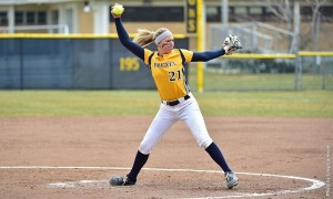Senior righthanded pitcher Shelby Taylor works into her wind up during Drexel's 5-3 home victory versus Monmouth April 9. Taylor is 10-6 on the season on the mound and is hitting .298 with 23 RBI, tied for most on the team. (Greg Carroccio)
