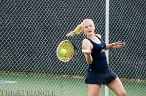 Freshman Lea Winkler returns a shot April 6 against NJIT. Winkler went on to lose her singles match, 2-6, 3-6. The women's team won its Senior Day matchup at Vidas Courts, 4-3, while the men's team fell, 2-5. (Andrew Pellegrino)