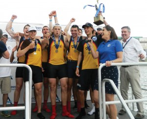 The Crew team celebrates following its second consecutive victory in overall points at the 76th annual Aberdeen Dad Vail Regatta May 10th. (Photo Courtesy - DrexelDragons.com)