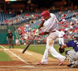 Ryan Howard hits a 7th inning single May 27. The following day, Howard hammered a walk-off three run homerun against the Rockies. (Photo Courtesy - Ron Cortes, MCT Campus)