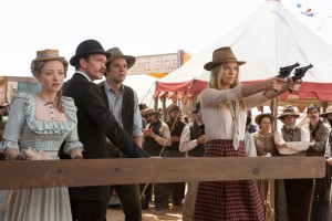 "Lorey Sebastian MCT Campus ""A Million Ways to Die in the West,"" Seth MacFarlane's latest film, stars (from left to right) Amanda Seyfried, Neil Patrick Harris, Seth MacFarlane and Charlize Theron. Liam Neeson is also featured in the film, as the villain Clinch Leatherwood."