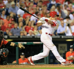 The Philadelphia Phillies' Chase Utley singles to drive in a run in the fifth inning against the Miami Marlins at Citizens Bank Park in Philadelphia on Wednesday, June 26, 2014. (Charles Fox/Philadelphia Inquirer/MCT)