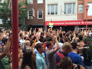 Fans on South Street celebrate after Mario Gotze scored the game-winning goal in the World Cup final.