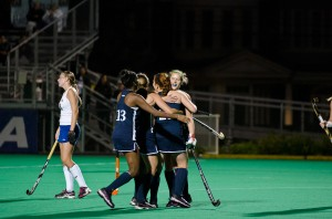 The Drexel University field hockey team celebrates a goal during their Oct. 10 game against Hofstra University at Buckley Field. They went on to lose that game 1-2, but recovered this week against Richmond University with an overtime victory.  (Ken Chaney - The Triangle)