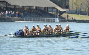 The Drexel women's second varsity 8 boat competes at the Navy Day Regatta. They finished second in their race to the United States Naval Academy and finished with a time of 15:16.98, narrowly edging Saint Joseph's University for second place. (Photo Courtesy - DrexelDragons.com)