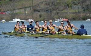 The men's first varsity eight boat competes at the Head of the Charles Regatta on the Charles River in Boston, Massachusetts Oct. 19. The first varsity eight squad finished twenty-second out of thirty-six teams in their race. (Photo courtesy of DrexelDragons)