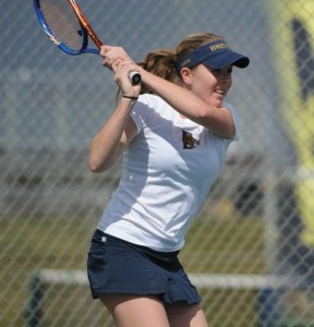 Senior Nicole Pivonka follows through on a return during warm-ups. (Photo Courtesy - DrexelDragons.com)