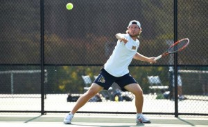 Dan Hansen returns a shot during the Saint Joseph's Invitational Sept. 19. (Photo Courtesy - DrexelDragons.com)