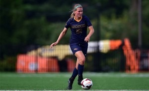 Senior midfielder Alyssa Findlay dribbles down the field during an Oct. 26 loss at Northeastern University. The loss gave the Dragons fifth place in the conference. (Photo Courtesy - DrexelDragons.com)