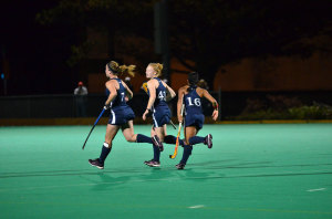 The Drexel University field hockey team celebrates a goal. (Ken Chaney - The Triangle)