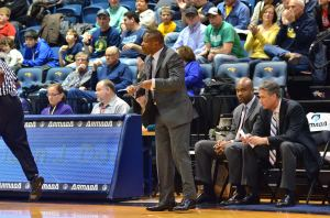 Men's basketball head coach Bruiser Flint yells instructions against Southern Mississippi on Nov. 30. (Ken Chaney - The Triangle)