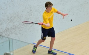 Sophomore Michael Thompson returns a shot during men's squash's matchup against the tenth-ranked University of  Pennsylvania Jan. 20. The Dragons fell to the Quakers at home, 6-3.  (Photo Courtesy - Drexeldragons.com)