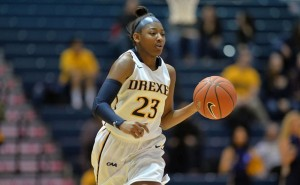 Sophomore guard Alexis Smith dribbles the ball up the court during the Dragons' matchup against Hofstra University Jan. 22. Smith had her season high in points in the game, scoring 16 points on 5-9 shooting.  (Photo Courtesy - Drexeldragons.com)
