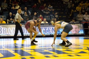Drexel wrestling competes against Lock Haven Jan. 16. The weekend of Feb. 23, the Dragons faced off against Eastern Intercollegiate Wrestling Association rivals Hofstra University and Cornell University, losing to Cornell but beating Hofstra. (Ajon Brodie - The Triangle)
