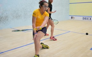 Elisa Money competes at the Kurtz Cup. The women's squash team would split results in the competition, losing to no. 10 Stanford University but edging out Franklin and Marshall University, 8-1.  (Photo Courtesy - Drexeldragons.com)