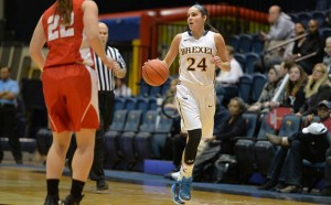 Rachel Pearson dribbles the ball down the court for the Dragons. (Photo Courtesy - Drexeldragons.com)