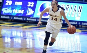 Rachel Pearson dribbles up the court against The College of William & Mary Feb. 6. The Dragons lost to the Tribe, starting a two-game skid, but they recovered against Towson University with of a 66-52 win. (Photo Courtesy - Drexeldragons.com)