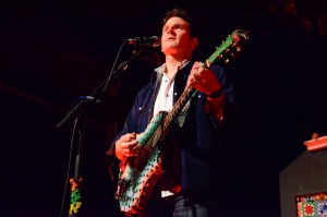Adam Gardner of Guster rocks an afghan-covered guitar at the TLA April 24. Shane O'Connor  - The Triangle