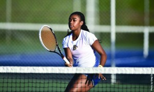 Freshman Ryshena Providence watches a serve at Vidas Courts this season. (Photo Courtesy - Drexel Dragons)