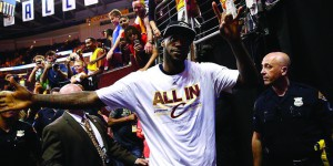 LeBron James celebrates following the Cleveland Cavaliers' game four win over the Atlanta Hawks May 26. James and the Cavaliers swept the Hawks in four games. (Photo courtesy Cleveland Cavaliers)