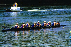 The women's crew team rows down the Schuylkill River during the 2015 Aberdeen Dad Vail Regatta May 9. (Neeharika Simha - The Triangle)