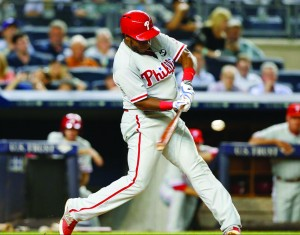 Maikel Franco swings at a ball, just before blasting a two-run home run for the  Phillies June 22. Franco has had an offensive explosion in the month of June. (Photo courtesy - Philadelphia Phillies)