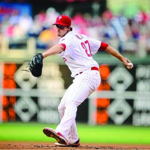 Aaron Nola winds up during his Major League Baseball debut July 21. Nola pitched six innings and allowed just one earned run in his first outing for the Phillies. (Photo courtesy - Philadelphia Phillies)