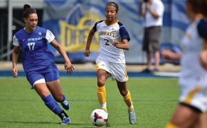 Freshman foward Vanessa Kara kicks the ball upfield in a match earlier this season.  Women's soccer is now 6-5, after taking a 1-0 loss to the University of Delaware last Friday. (Photo Courtesy Drexeldragons.com)