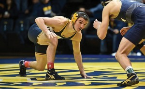 Matthew Cimato competes at the Mountaineer Duals. Cimato was the most successful of the Drexel wrestlers, finishing with three wins, including a victory over Jake S. Smith from West Virginia University.  (Photo courtesy Drexeldragons.com)