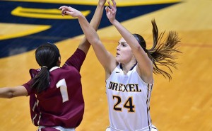 Senior Rachel Pearson takes a shot in an early season game against the College of Charleston. This week, Pearson hit a milestone, recording her 1000th point against Elon University. Photo courtesy Drexeldragons.com