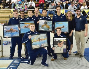 Photo courtesy Drexeldragons.com The men's swimming/diving team celebrates Senior Day at the Daskalakis Athletic Center on Jan. 31.